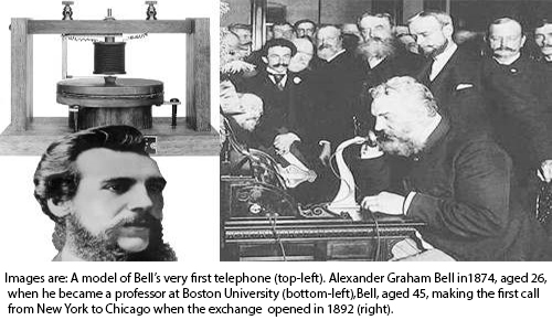 Image result for Alexander Graham Bell receives the patent for his new invention, the telephone.